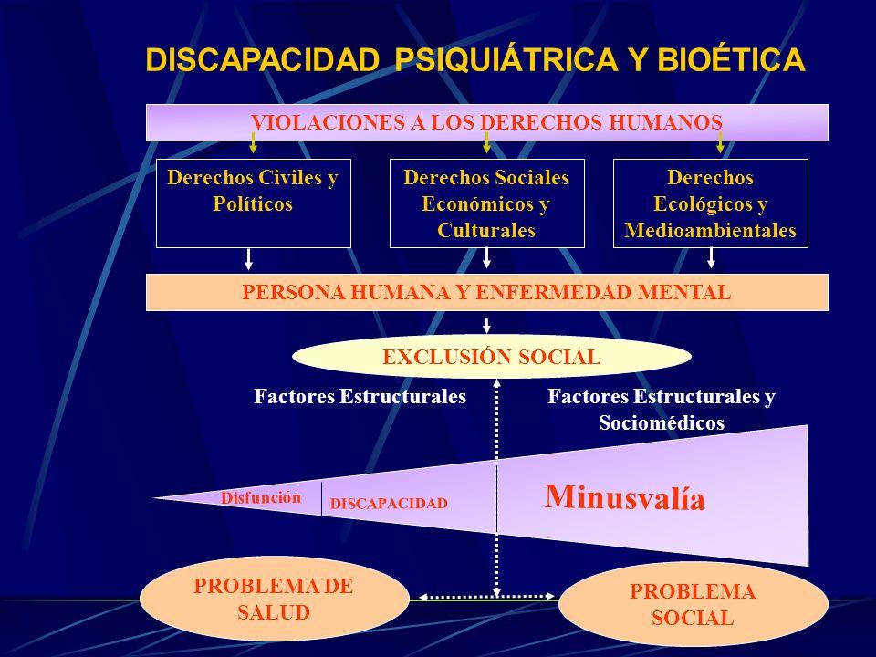DISCAPACIDAD PSIQUIÁTRICA Y BIOÉTICA VIOLACIONES A LOS DERECHOS HUMANOS Derechos Civiles y Políticos Derechos Ecológicos y Medioambientales Derechos S