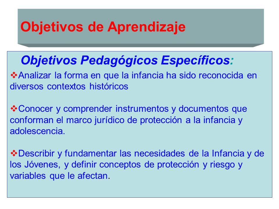 Objetivos de Aprendizaje Objetivos Pedagógicos Específicos: Conocer y analizar las políticas sociales y públicas nacionales de infancia.
