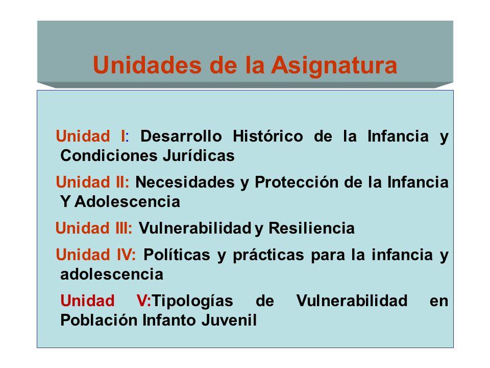 Unidades de la Asignatura Unidad I: Desarrollo Histórico de la Infancia y Condiciones Jurídicas Unidad II: Necesidades y Protección de la Infancia Y A