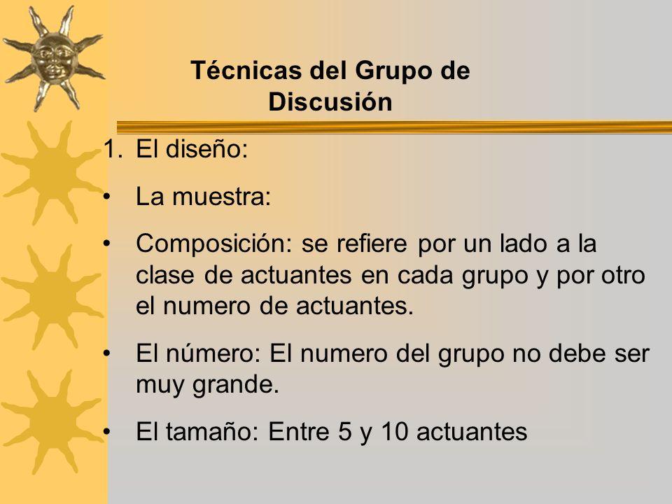 Técnicas del Grupo de Discusión 1.El diseño: La muestra: Composición: se refiere por un lado a la clase de actuantes en cada grupo y por otro el numer