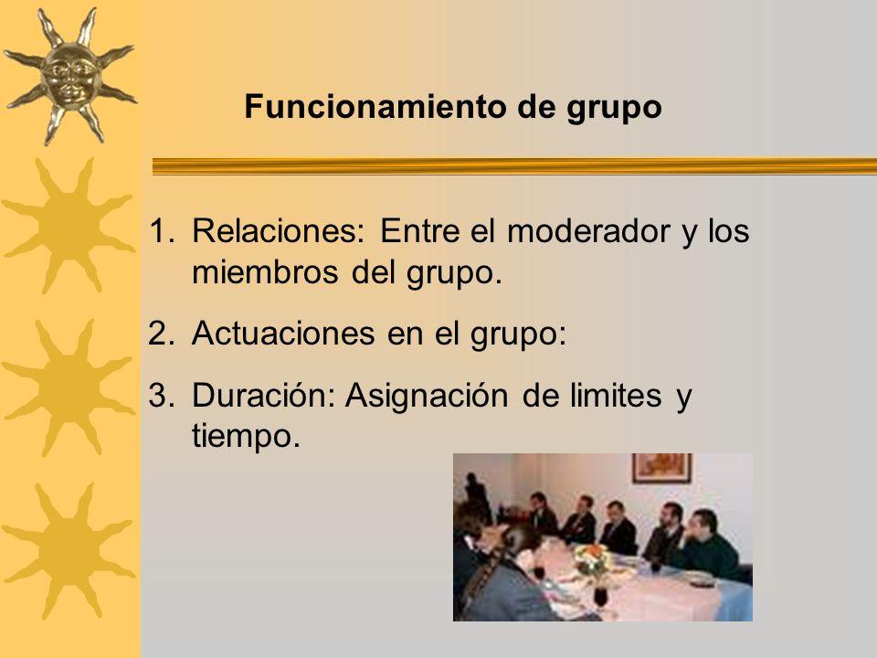 Funcionamiento de grupo 1.Relaciones: Entre el moderador y los miembros del grupo. 2.Actuaciones en el grupo: 3.Duración: Asignación de limites y tiem