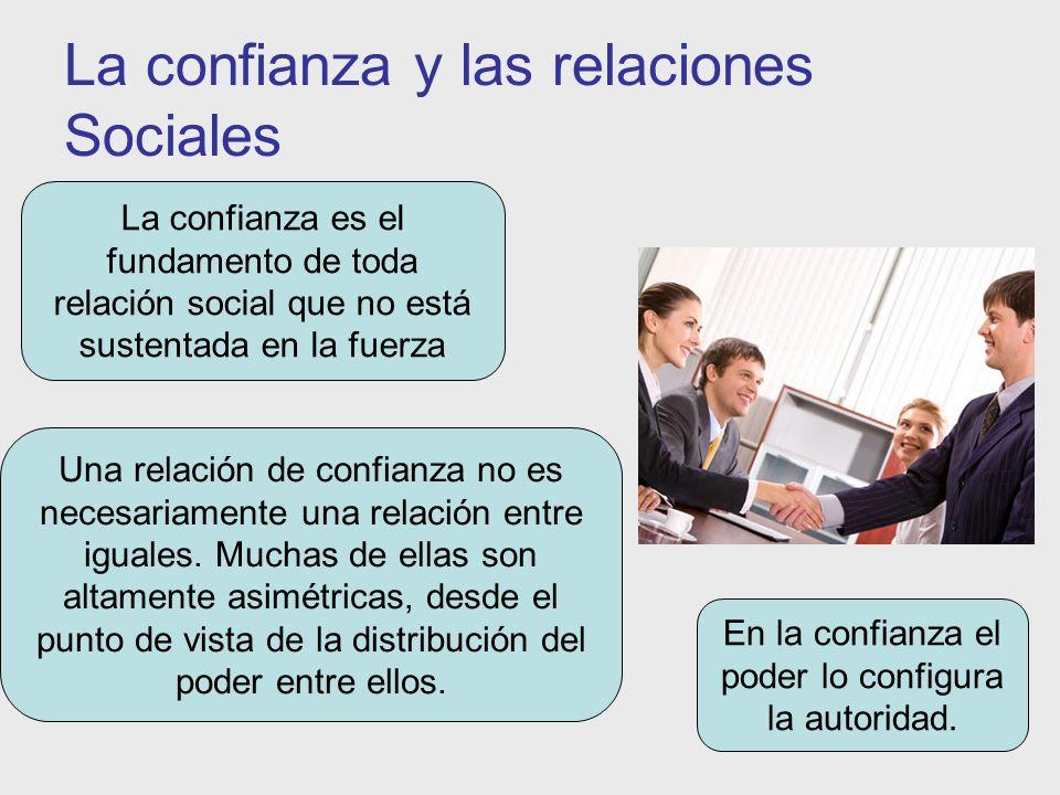 La confianza y las relaciones Sociales La confianza es el fundamento de toda relación social que no está sustentada en la fuerza Una relación de confi