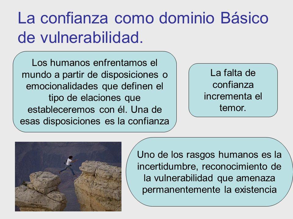 La confianza como dominio Básico de vulnerabilidad. Los humanos enfrentamos el mundo a partir de disposiciones o emocionalidades que definen el tipo d