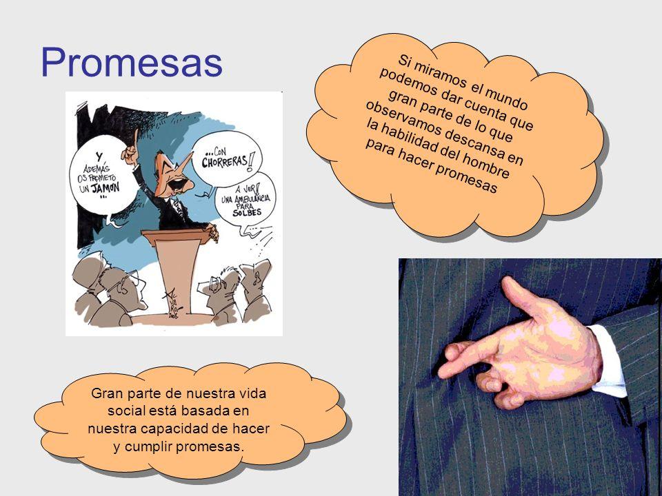 Promesas Gran parte de nuestra vida social está basada en nuestra capacidad de hacer y cumplir promesas. Si miramos el mundo podemos dar cuenta que gr