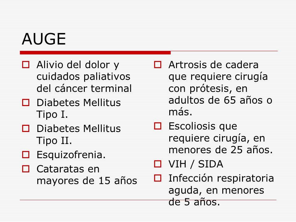 AUGE Alivio del dolor y cuidados paliativos del cáncer terminal Diabetes Mellitus Tipo I. Diabetes Mellitus Tipo II. Esquizofrenia. Cataratas en mayor