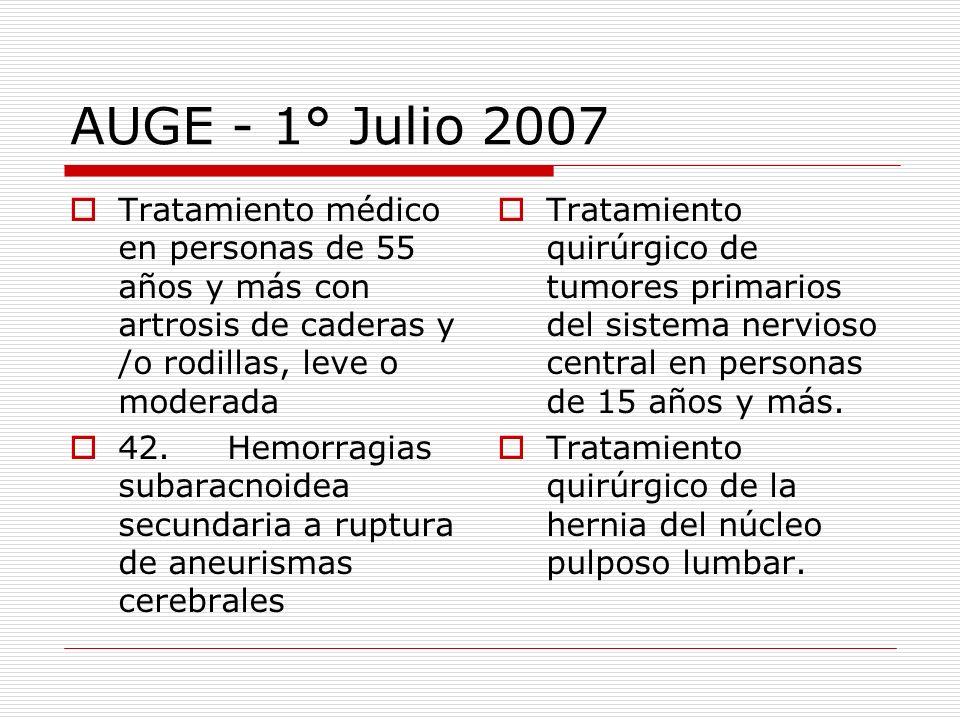 AUGE - 1° Julio 2007 Tratamiento médico en personas de 55 años y más con artrosis de caderas y /o rodillas, leve o moderada 42. Hemorragias subaracnoi