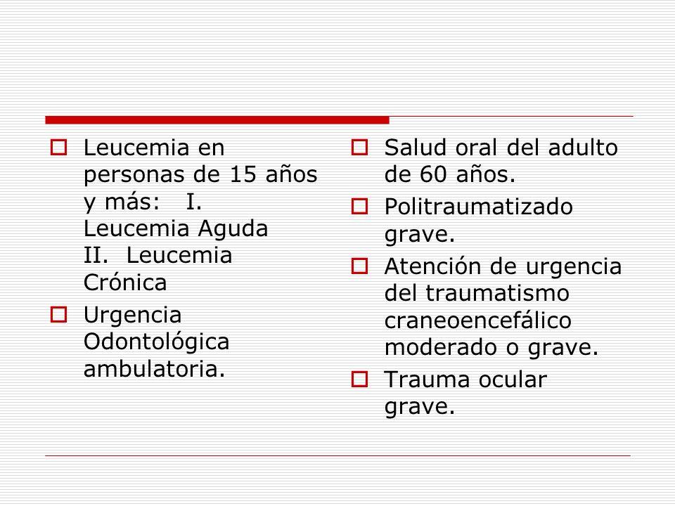 Leucemia en personas de 15 años y más: I. Leucemia Aguda II. Leucemia Crónica Urgencia Odontológica ambulatoria. Salud oral del adulto de 60 años. Pol
