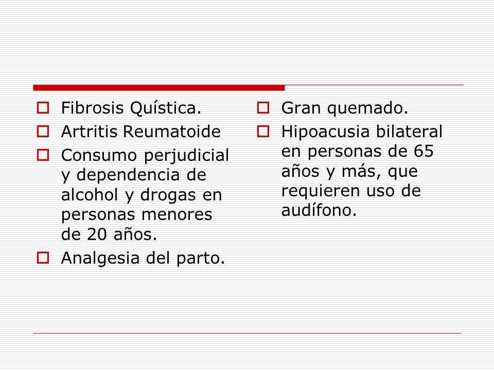 Fibrosis Quística. Artritis Reumatoide Consumo perjudicial y dependencia de alcohol y drogas en personas menores de 20 años. Analgesia del parto. Gran