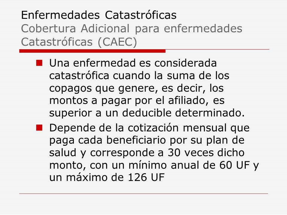 Enfermedades Catastróficas Cobertura Adicional para enfermedades Catastróficas (CAEC) Una enfermedad es considerada catastrófica cuando la suma de los