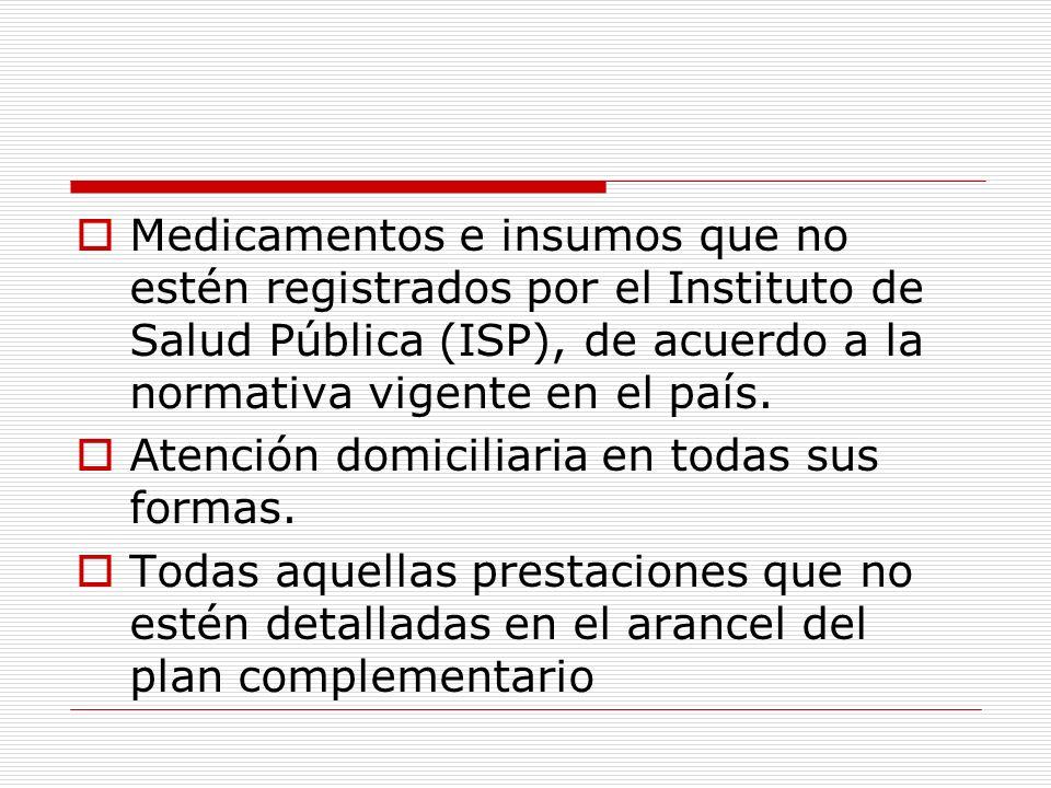 Medicamentos e insumos que no estén registrados por el Instituto de Salud Pública (ISP), de acuerdo a la normativa vigente en el país. Atención domici