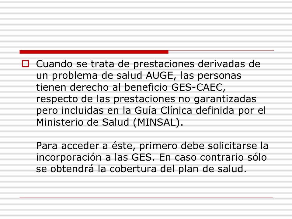 Cuando se trata de prestaciones derivadas de un problema de salud AUGE, las personas tienen derecho al beneficio GES-CAEC, respecto de las prestacione