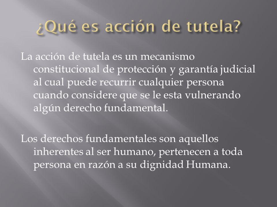 La acción de tutela es un mecanismo constitucional de protección y garantía judicial al cual puede recurrir cualquier persona cuando considere que se