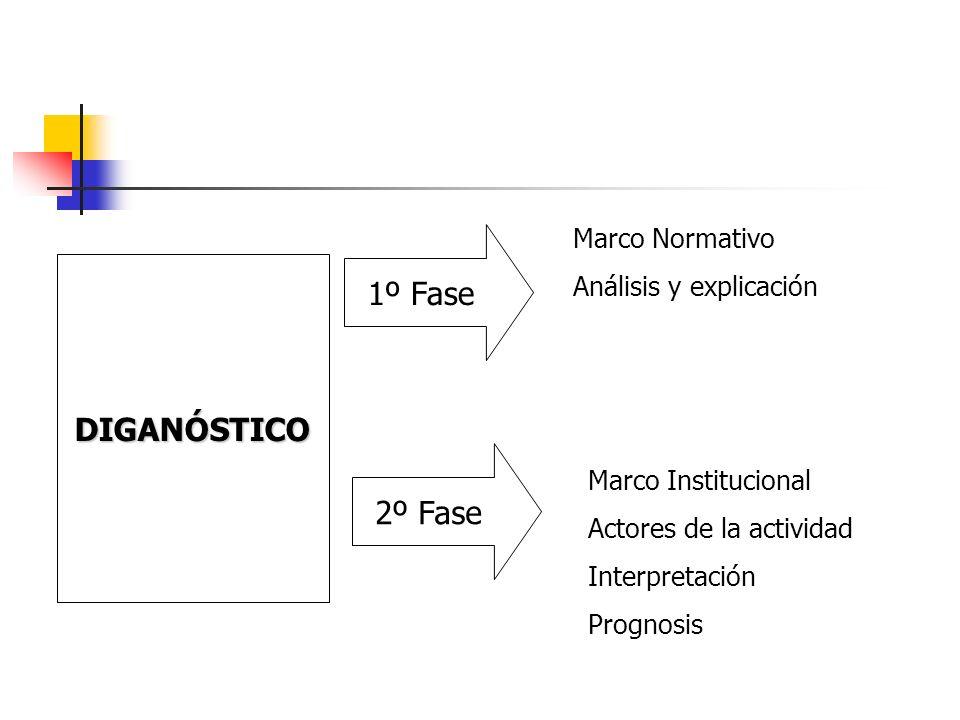 DIGANÓSTICO 1º Fase Marco Normativo Análisis y explicación 2º Fase Marco Institucional Actores de la actividad Interpretación Prognosis