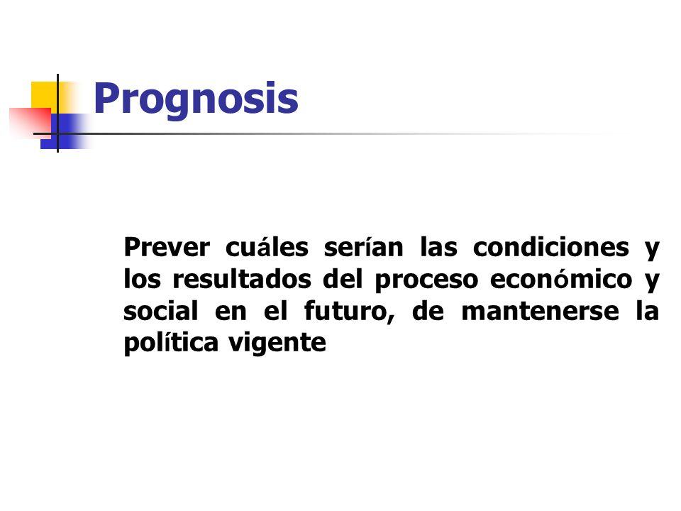 Prognosis Prever cu á les ser í an las condiciones y los resultados del proceso econ ó mico y social en el futuro, de mantenerse la pol í tica vigente