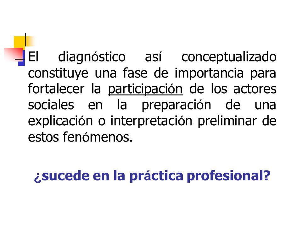 El diagn ó stico as í conceptualizado constituye una fase de importancia para fortalecer la participaci ó n de los actores sociales en la preparaci ó
