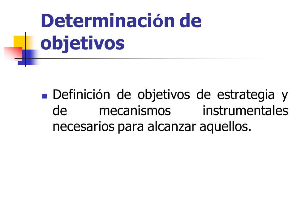 Determinaci ó n de objetivos Definici ó n de objetivos de estrategia y de mecanismos instrumentales necesarios para alcanzar aquellos.