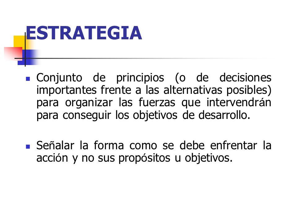 ESTRATEGIA Conjunto de principios (o de decisiones importantes frente a las alternativas posibles) para organizar las fuerzas que intervendr á n para