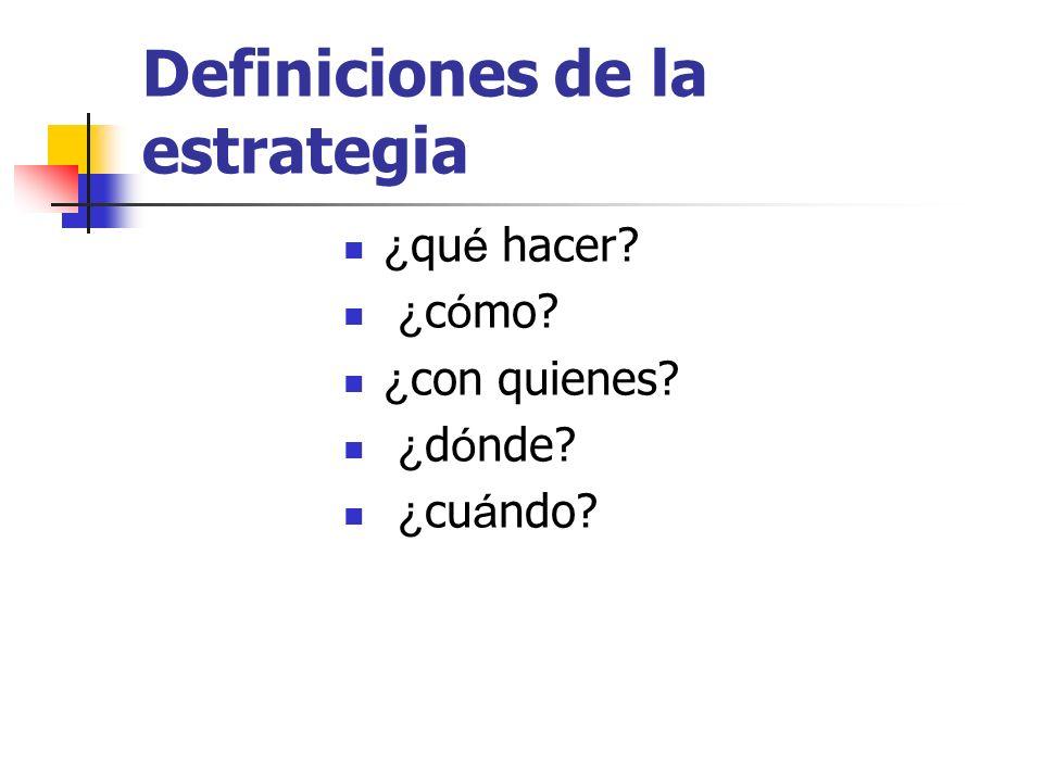 Definiciones de la estrategia ¿ qu é hacer? ¿ c ó mo? ¿ con quienes? ¿ d ó nde? ¿ cu á ndo?