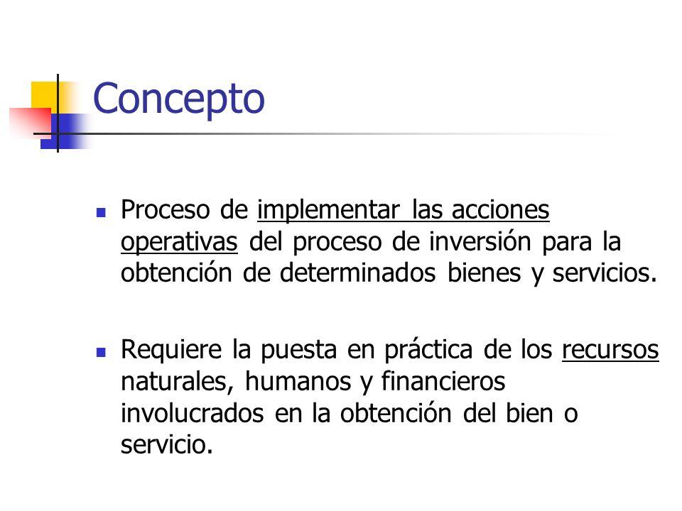 Concepto Proceso de implementar las acciones operativas del proceso de inversión para la obtención de determinados bienes y servicios. Requiere la pue