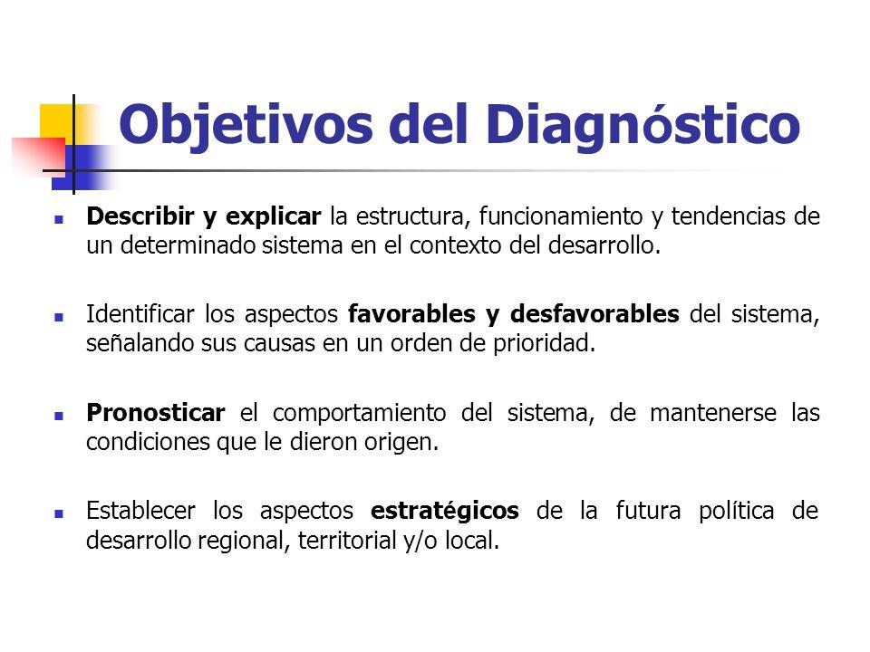 Objetivos del Diagn ó stico Describir y explicar la estructura, funcionamiento y tendencias de un determinado sistema en el contexto del desarrollo. I