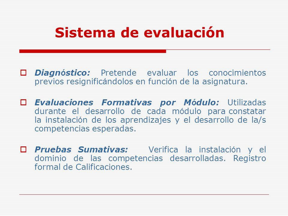 Diagn ó stico: Pretende evaluar los conocimientos previos resignific á ndolos en funci ó n de la asignatura. Evaluaciones Formativas por M ó dulo: Uti