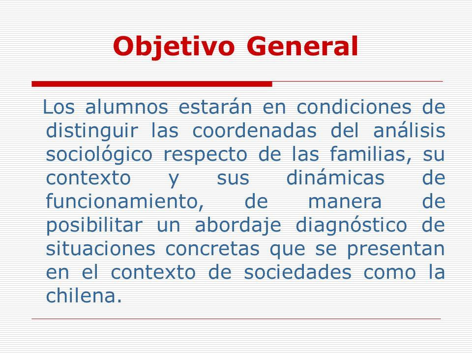 Objetivo General Los alumnos estarán en condiciones de distinguir las coordenadas del análisis sociológico respecto de las familias, su contexto y sus