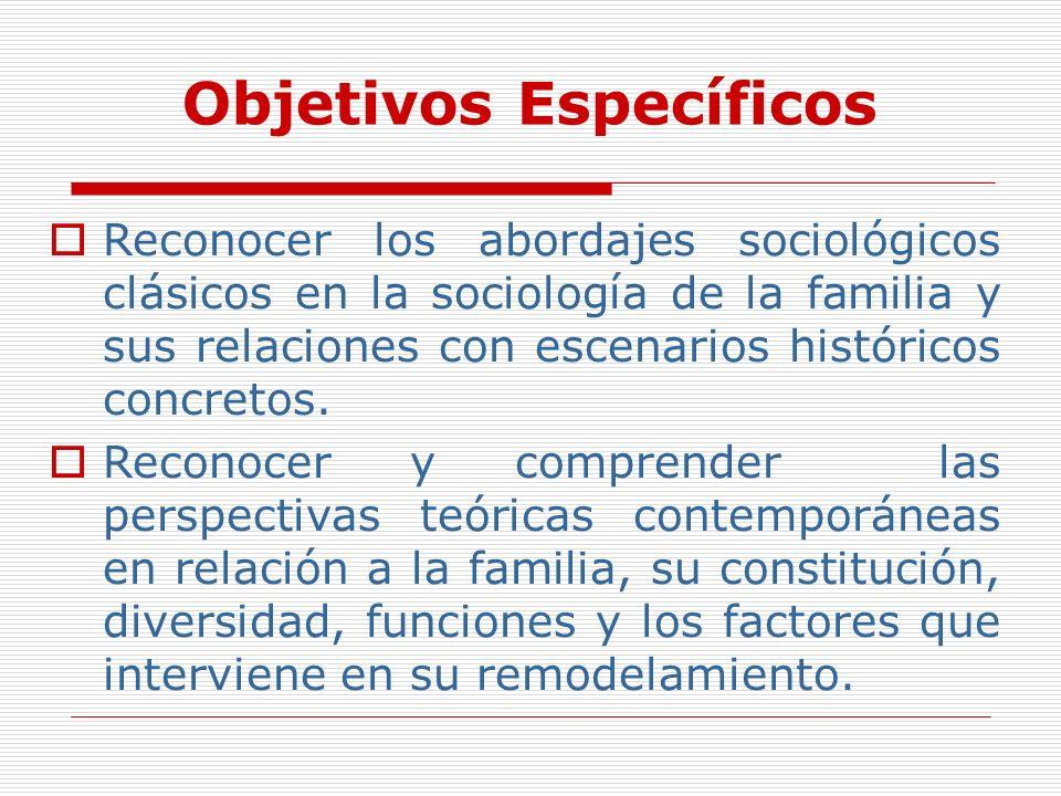 Objetivos Específicos Reconocer los abordajes sociológicos clásicos en la sociología de la familia y sus relaciones con escenarios históricos concreto