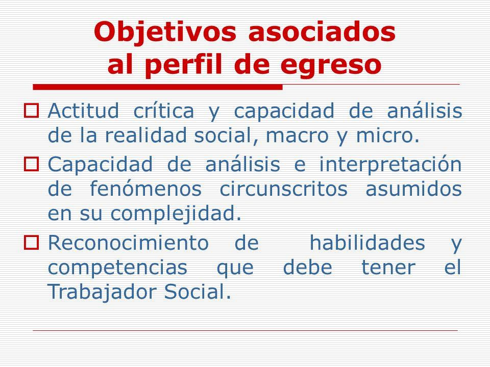 Objetivos asociados al perfil de egreso Actitud crítica y capacidad de análisis de la realidad social, macro y micro. Capacidad de análisis e interpre