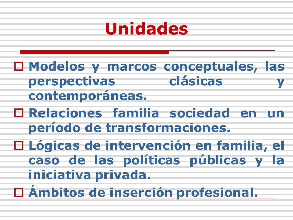 Unidades Modelos y marcos conceptuales, las perspectivas clásicas y contemporáneas. Relaciones familia sociedad en un período de transformaciones. Lóg