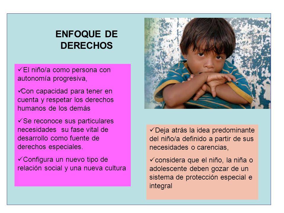ENFOQUE DE DERECHOS El niño/a como persona con autonomía progresiva, Con capacidad para tener en cuenta y respetar los derechos humanos de los demás S