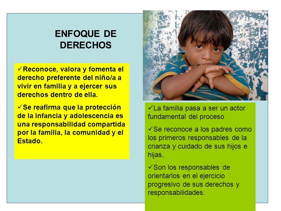 ENFOQUE DE DERECHOS Reconoce, valora y fomenta el derecho preferente del niño/a a vivir en familia y a ejercer sus derechos dentro de ella. Se reafirm