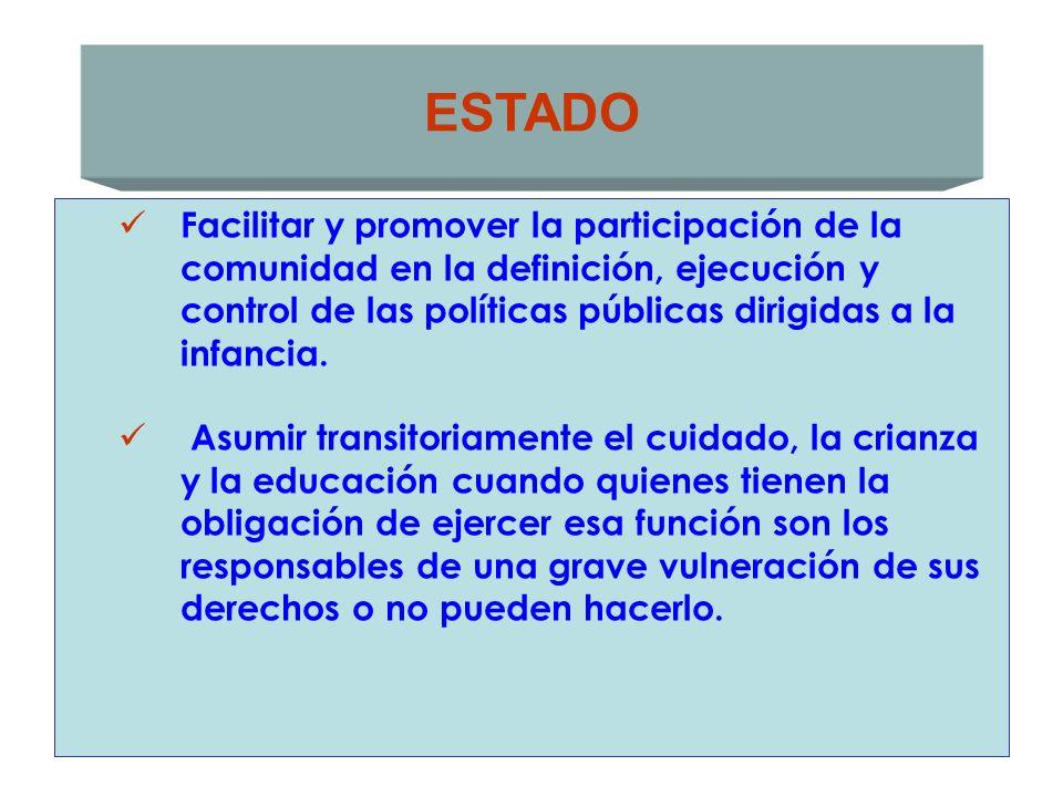ESTADO Facilitar y promover la participación de la comunidad en la definición, ejecución y control de las políticas públicas dirigidas a la infancia.