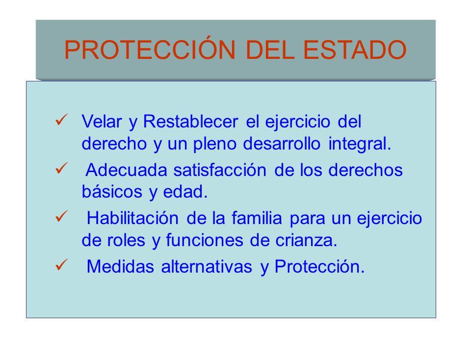 PROTECCIÓN DEL ESTADO Velar y Restablecer el ejercicio del derecho y un pleno desarrollo integral. Adecuada satisfacción de los derechos básicos y eda