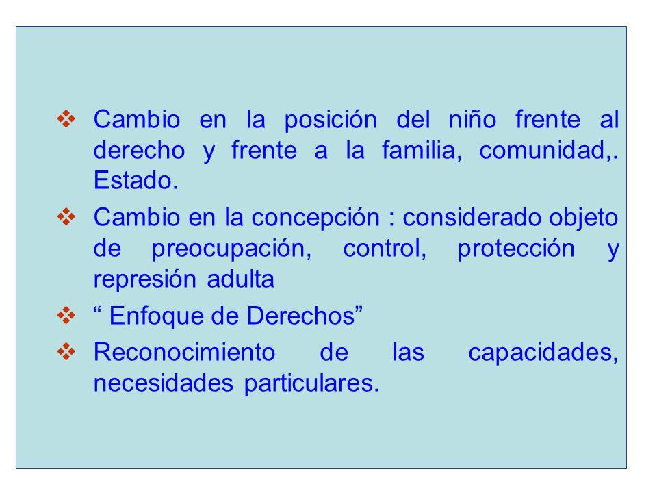Cambio en la posición del niño frente al derecho y frente a la familia, comunidad,. Estado. Cambio en la concepción : considerado objeto de preocupaci
