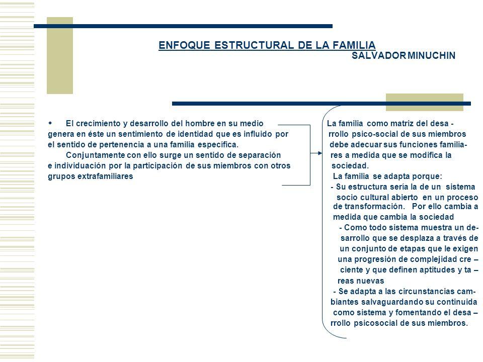 ENFOQUE ESTRUCTURAL DE LA FAMILIA SALVADOR MINUCHIN El crecimiento y desarrollo del hombre en su medio La familia como matriz del desa - genera en ést