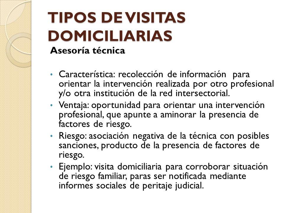 TIPOS DE VISITAS DOMICILIARIAS Asesoría técnica Característica: recolección de información para orientar la intervención realizada por otro profesiona