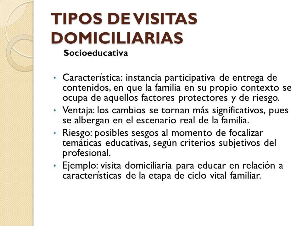 TIPOS DE VISITAS DOMICILIARIAS Socioeducativa Característica: instancia participativa de entrega de contenidos, en que la familia en su propio context