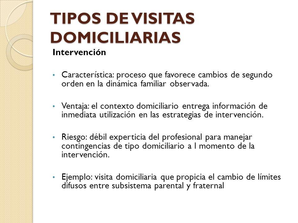 TIPOS DE VISITAS DOMICILIARIAS Intervención Característica: proceso que favorece cambios de segundo orden en la dinámica familiar observada. Ventaja: