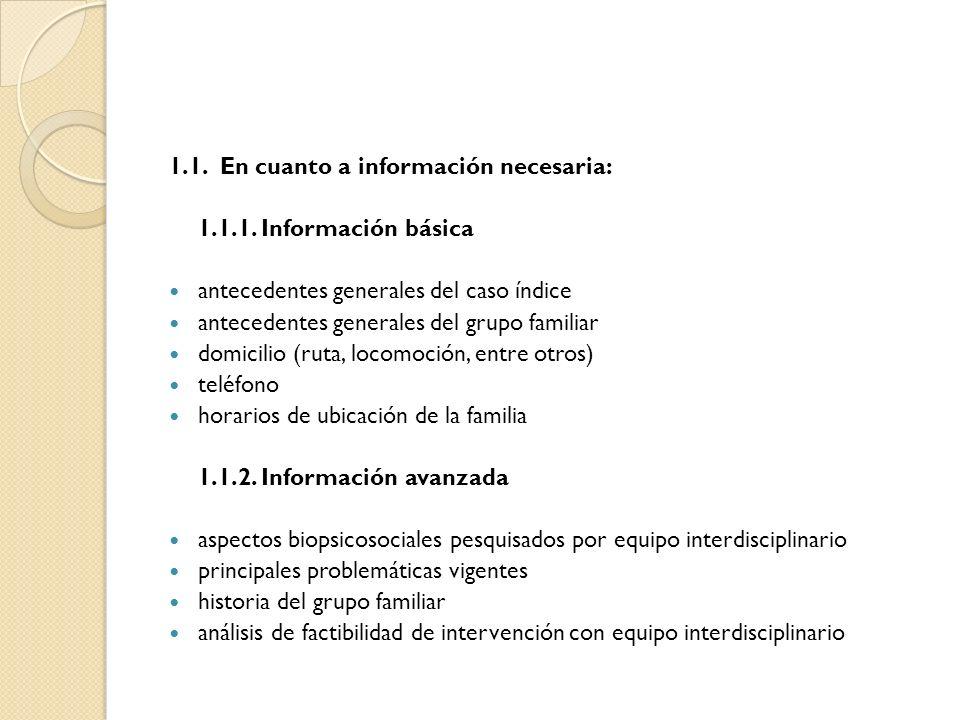 1.1. En cuanto a información necesaria: 1.1.1. Información básica antecedentes generales del caso índice antecedentes generales del grupo familiar dom