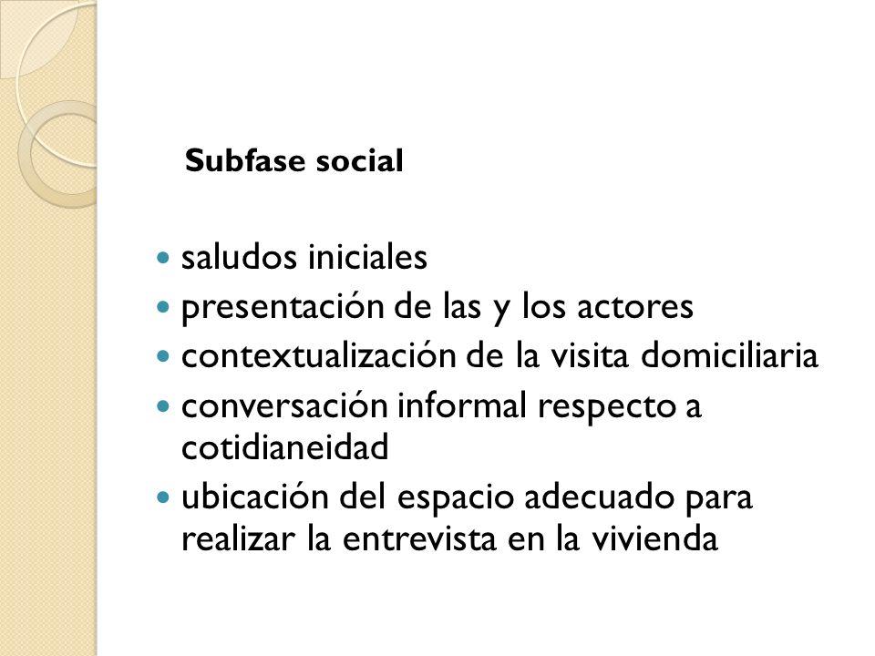 Subfase social saludos iniciales presentación de las y los actores contextualización de la visita domiciliaria conversación informal respecto a cotidi