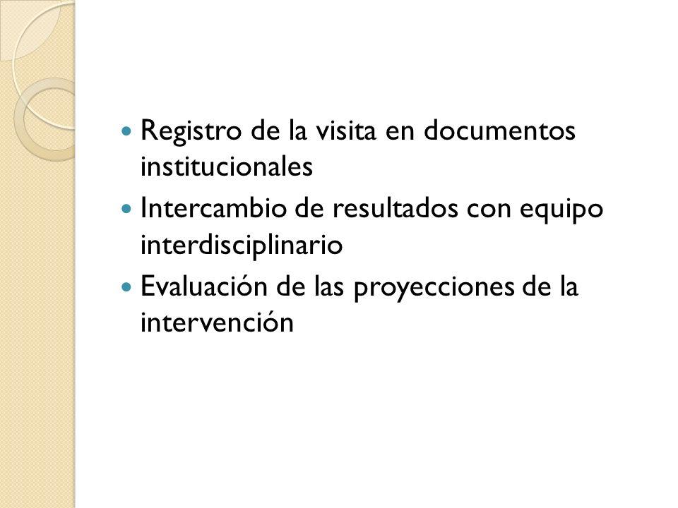 Registro de la visita en documentos institucionales Intercambio de resultados con equipo interdisciplinario Evaluación de las proyecciones de la inter