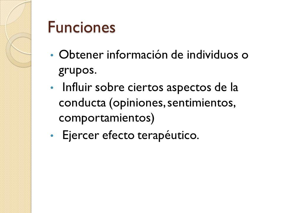 Funciones Obtener información de individuos o grupos. Influir sobre ciertos aspectos de la conducta (opiniones, sentimientos, comportamientos) Ejercer