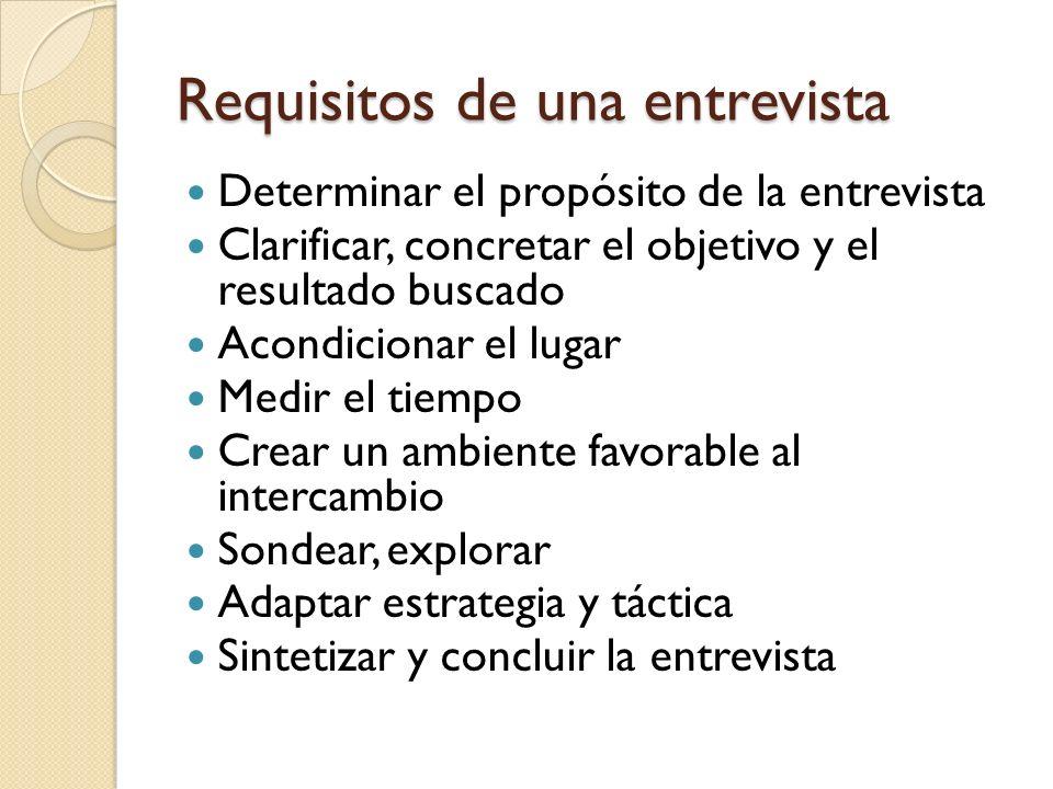 Requisitos de una entrevista Determinar el propósito de la entrevista Clarificar, concretar el objetivo y el resultado buscado Acondicionar el lugar M