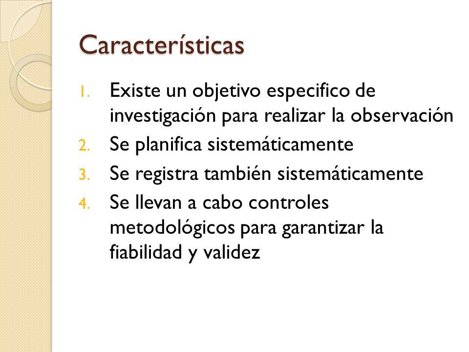 Características 1. Existe un objetivo especifico de investigación para realizar la observación 2. Se planifica sistemáticamente 3. Se registra también