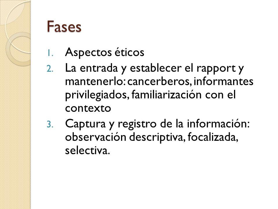 Fases 1. Aspectos éticos 2. La entrada y establecer el rapport y mantenerlo: cancerberos, informantes privilegiados, familiarización con el contexto 3