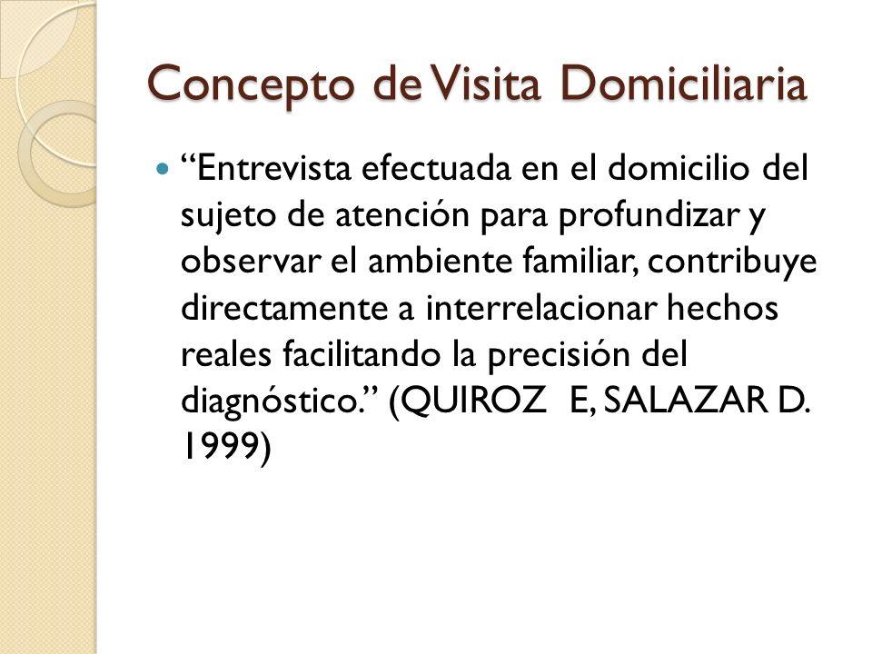 Concepto de Visita Domiciliaria Entrevista efectuada en el domicilio del sujeto de atención para profundizar y observar el ambiente familiar, contribu