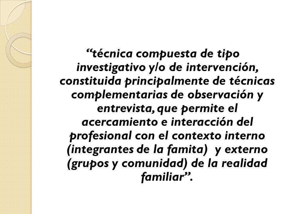 técnica compuesta de tipo investigativo y/o de intervención, constituida principalmente de técnicas complementarias de observación y entrevista, que p