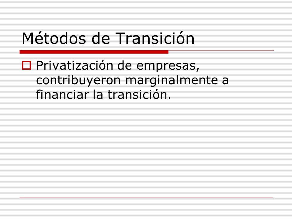 Métodos de Transición Privatización de empresas, contribuyeron marginalmente a financiar la transición.