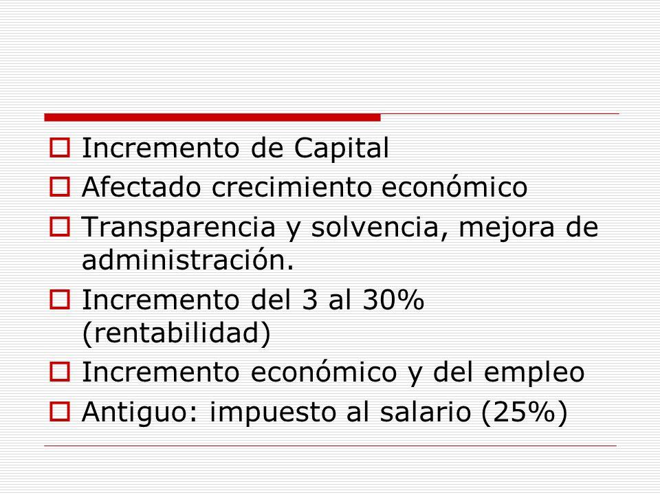 Incremento de Capital Afectado crecimiento económico Transparencia y solvencia, mejora de administración. Incremento del 3 al 30% (rentabilidad) Incre