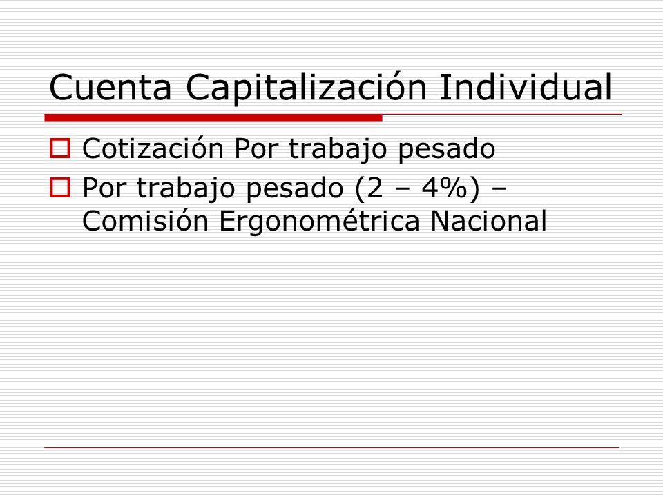 Cuenta Capitalización Individual Cotización Por trabajo pesado Por trabajo pesado (2 – 4%) – Comisión Ergonométrica Nacional